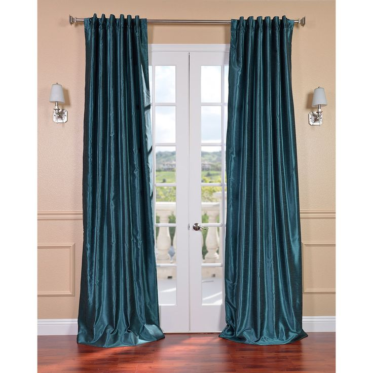 Peacock Vintage Faux Textured Dupioni Silk Curtain Panel | Overstock ...