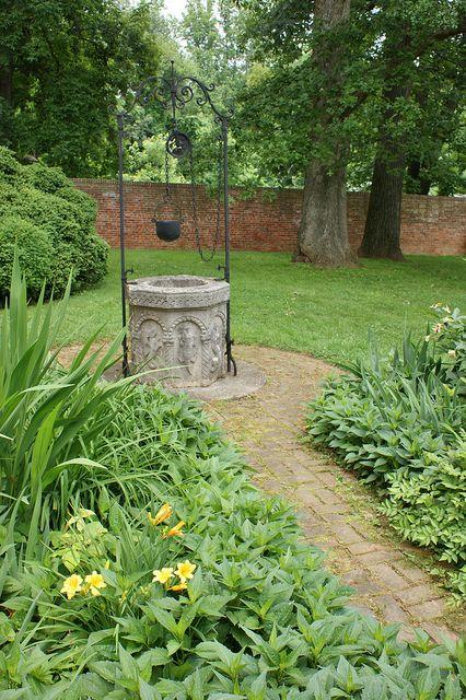 Stone wishing well beautiful water garden pinterest for Garden well designs