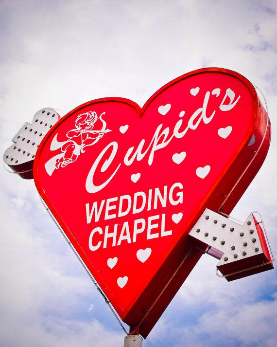 Fine Art Photography Las Vegas Wedding Chapel Heart Cupid Arrow Vintage Retro Sign Neon