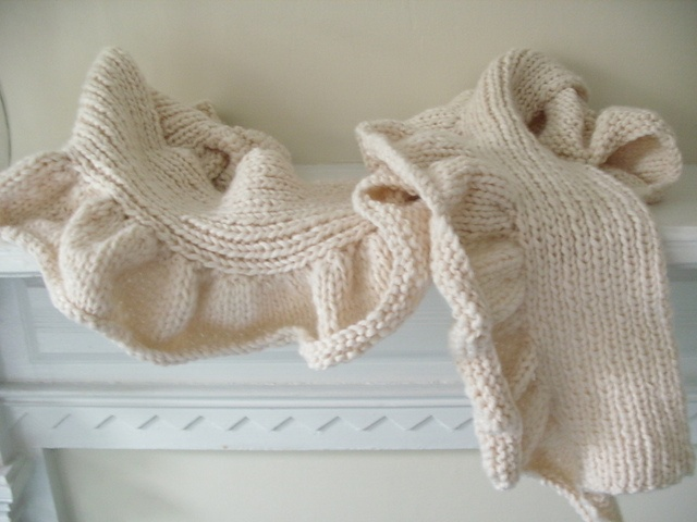 Knit white scarf by @Stacey Trock via @Sandy Cobaugh