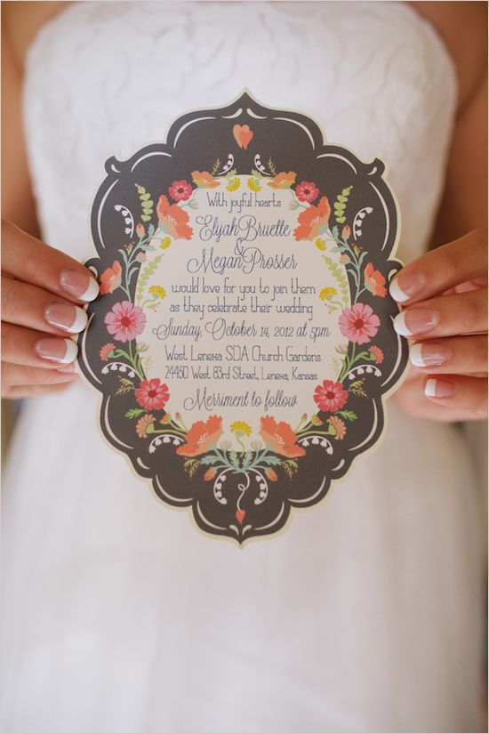Die cut wedding invite by Sheri McCulley Studio