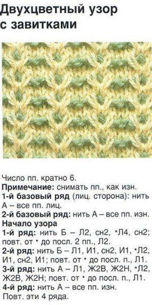 Схема узоров из двух нитей спицами с и