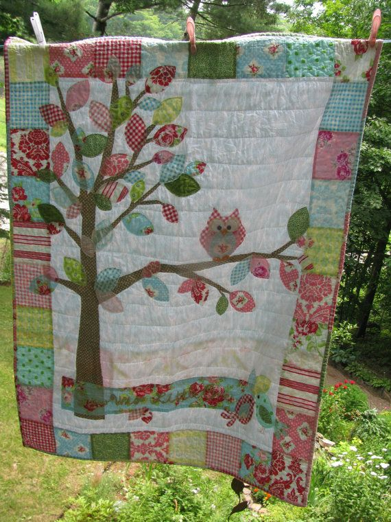 Woodland Owl baby quilt  cotton in pink, blue, yellow, red, white, green, Darla