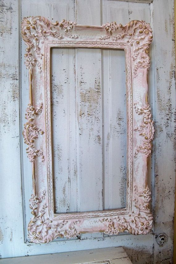 Pink vintage large frame hand painted ornate french - Large antique picture frames ...