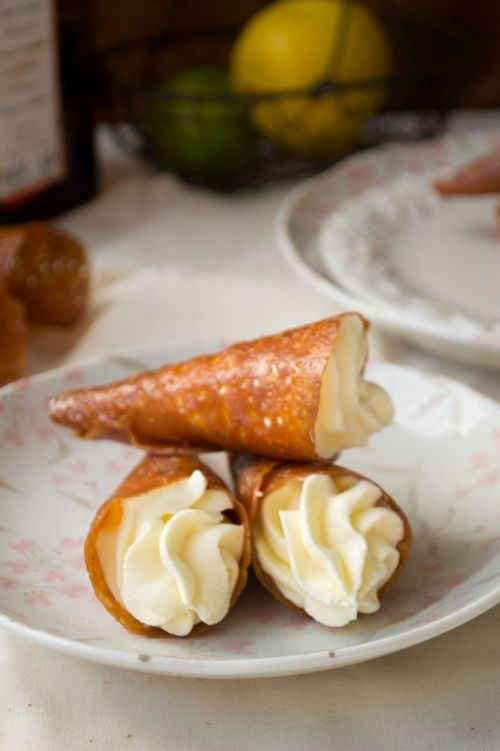 Coconut Tuile Cones with Cointreau Cream | Desserts | Pinterest