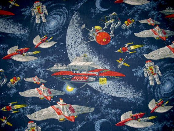 Retro space fabric out of this world robots astronauts for Vintage space fabric