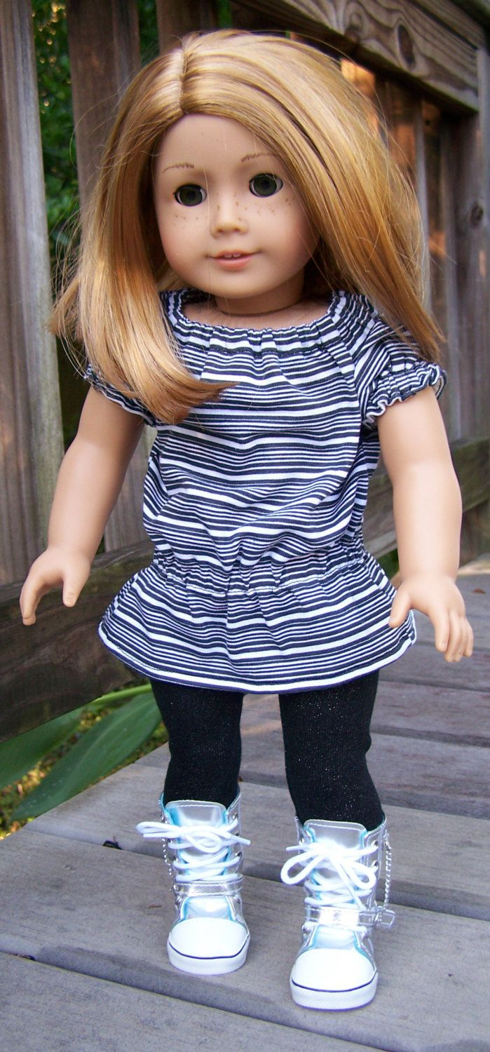 American girl 18 doll striped top with leggings