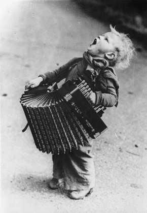 Caught up in the accordion spirit. *clap, clap* ~/\/\