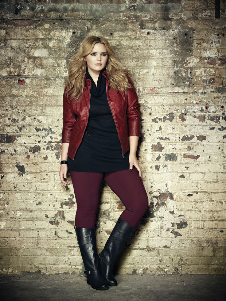 Addition Elle plus size faux leather jacket with drawstring sweater, premium essential knit pant and Diana boot.