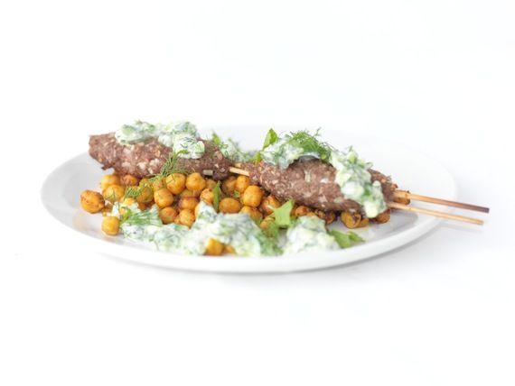 Lamb Kofte Kebabs, Sautéed Chickpeas and Cucumber Yogurt Sauce ...