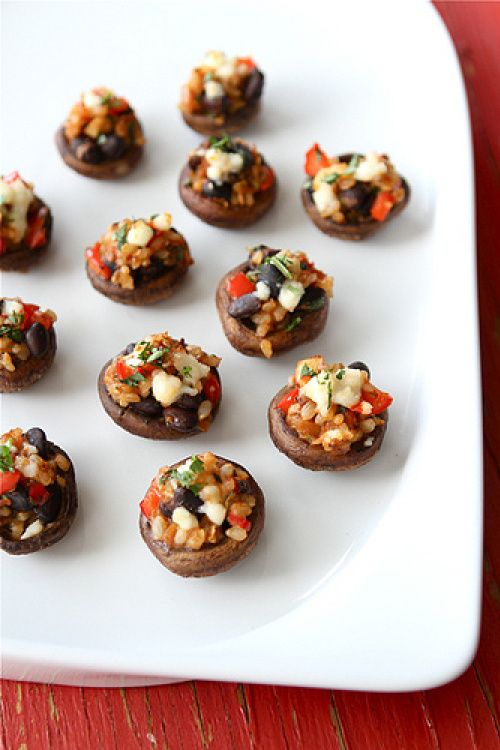 ... Stuffed Mushrooms Recipe with Black Beans, Brown Rice & Red Pepper