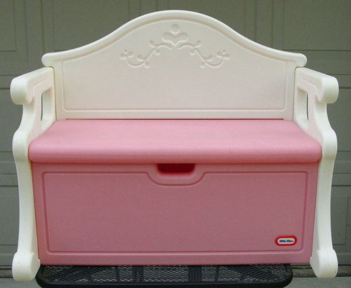 Vintage Victorian Little Tikes Tykes Pink White Toy Bench Full Size