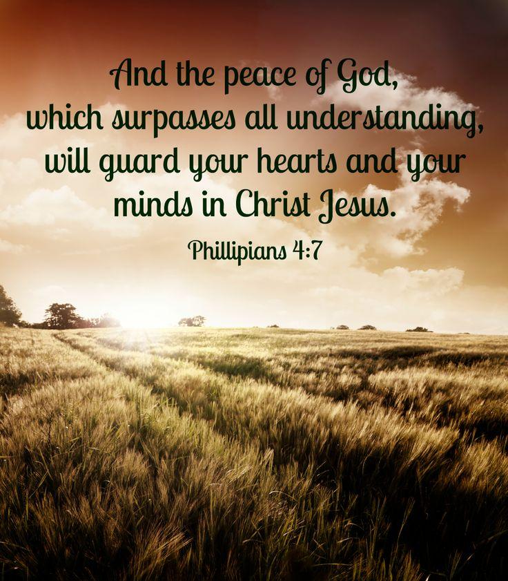 Allow God's peace to guard your heart - Phillipians 4:7