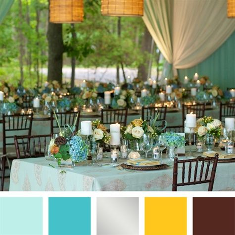 Silver teal wedding