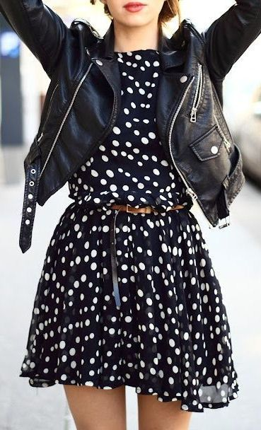 Polka Dot Dress With Leather Jacket For Ladies