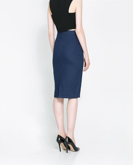 denim pencil skirt from zara fall style inspiration
