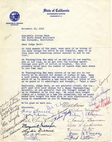 A thank you letter to Judge Julian Beck from the staff of Governor Edmund G. (Pat) Brown thanking him for his gift of turkeys, hams, and beverages on Thanksgiving, dated November 30, 1959. Judge Julian Beck Collection. San Fernando Valley History Digital Library.