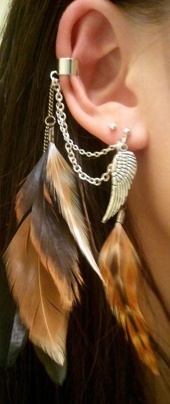 Inspiration for my own version of this feather ear cuff