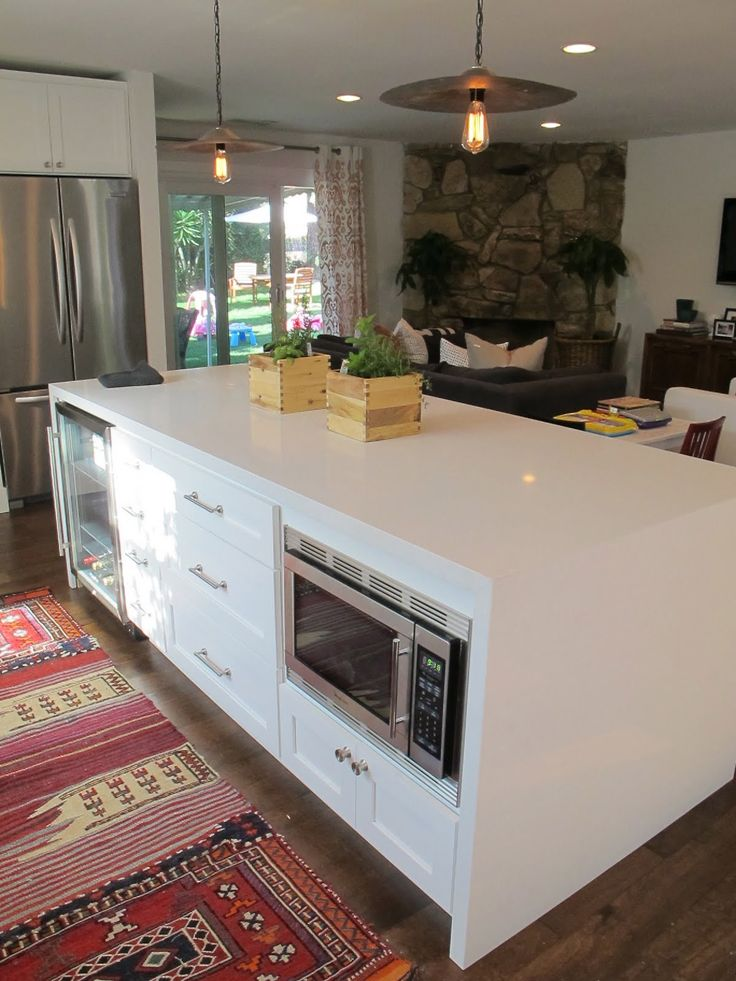 Microwave in island kitchen pinterest for Kitchens with islands in the middle