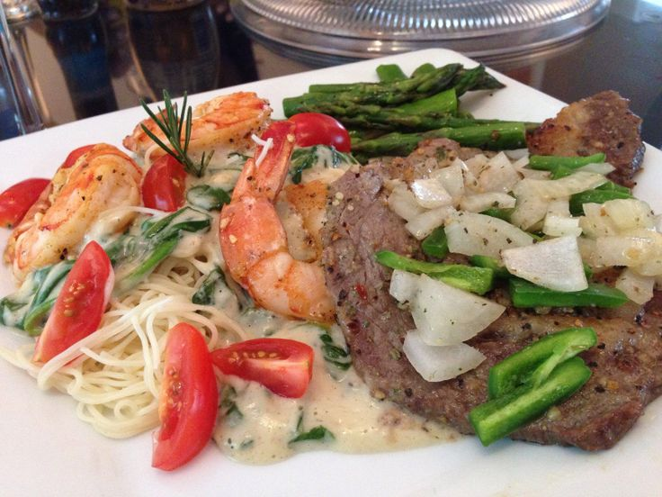 Asparagus, Angel Hair Pasta w/Homemade Alredo, spinach, grilled shrimp ...