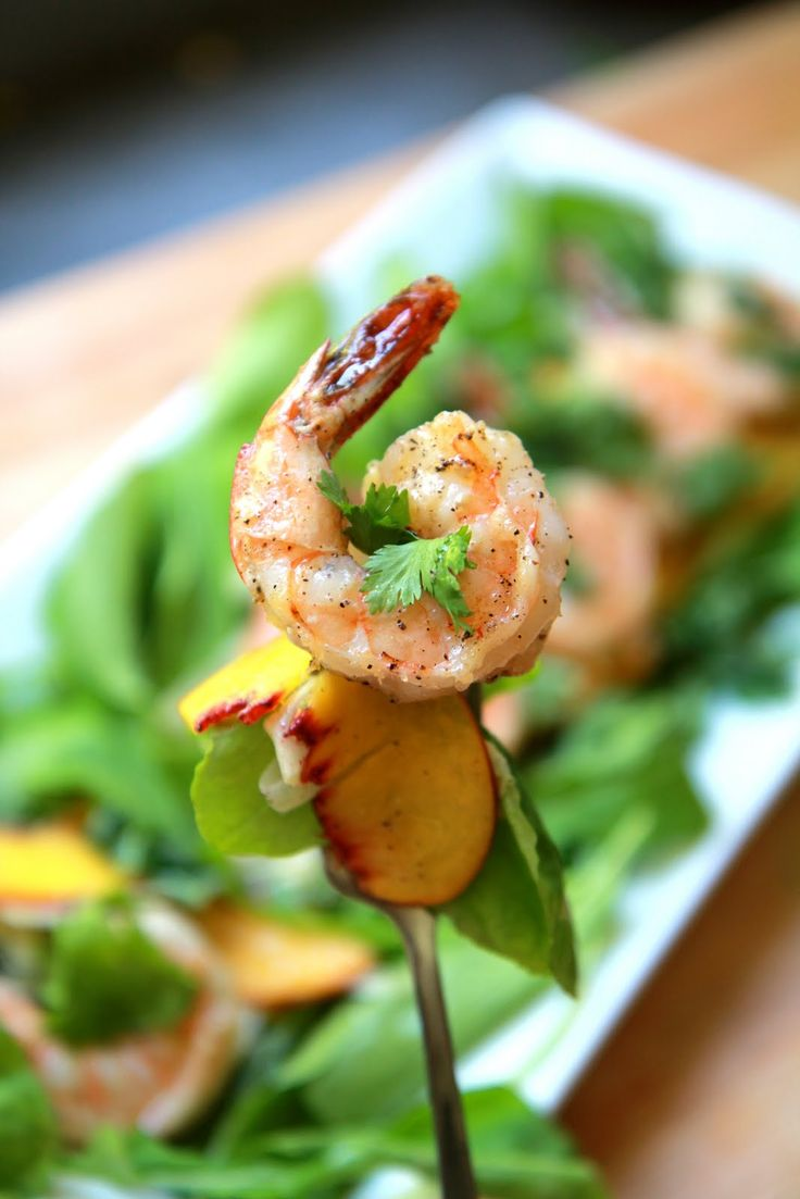 30 second salad with late summer peaches, sweet shrimp, tart lime ...