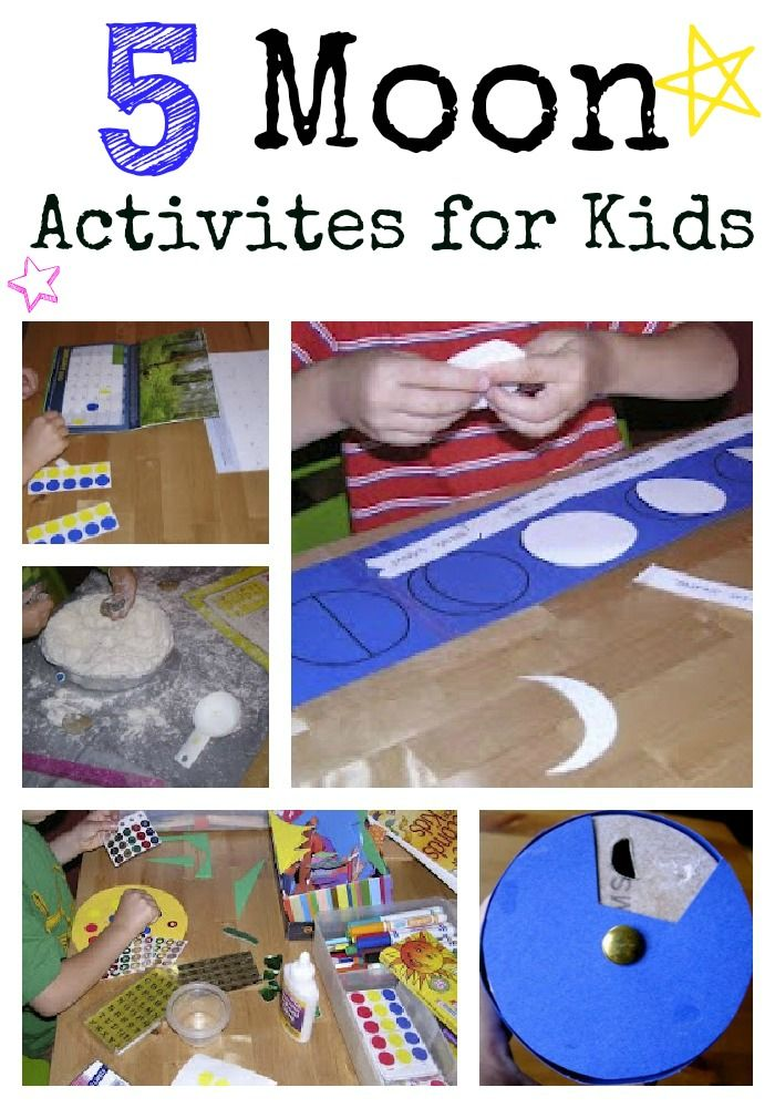 Five Moon Activities for Kids - easy craft and learning ideas good for young kids.
