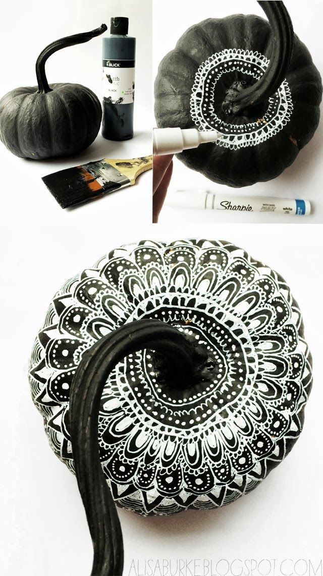 White on black lace inspired pumpkins alisaburke DIY