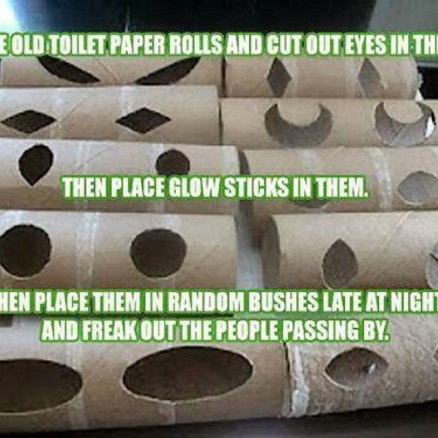 Pin by heather hughes on trick or treat pinterest for Glow sticks in toilet paper rolls
