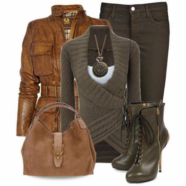 brown laether jacket,cardigan,handbag,mid calf boots and jeans