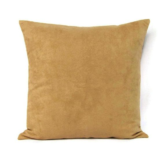 Throw Pillows Tan : 18x18 Throw Pillow Cover Brown Camel Tan Home Decor Decorative Suede