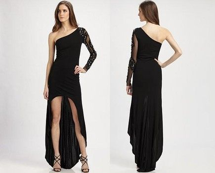 Asymmetrical black dress night out pinterest