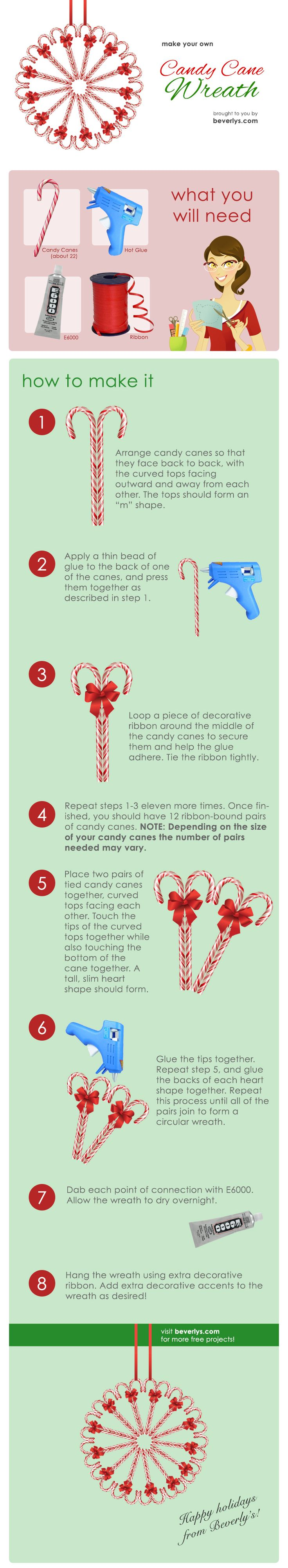 Pin and re-pin this awesome infographic that shows how to create our beloved Candy Cane Wreath! Just in time for the holiday season. #beverlys #beverlyfabrics #candy #candycane #wreath #christmas #holiday #xmas #decor