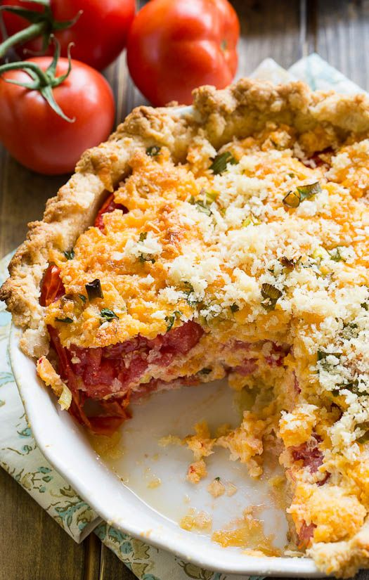 Savory Tomato Pie- a southern favorite. Juicy summer tomatoes mixed ...