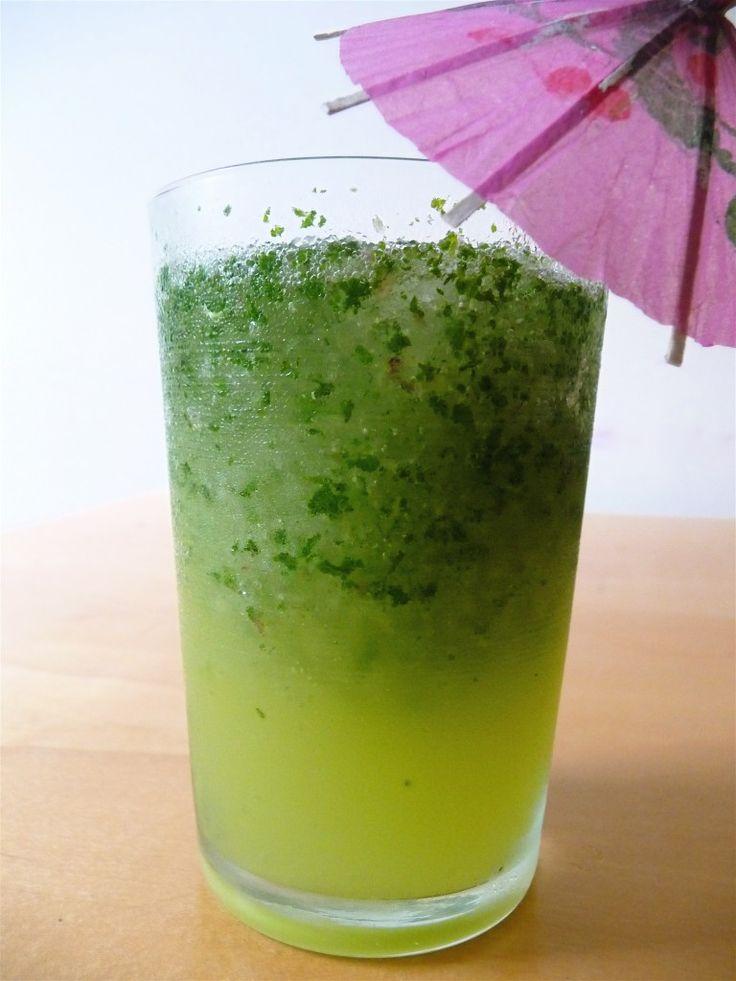 mint lemonade slushy - just mint, lemonade, ice, and seltzer.