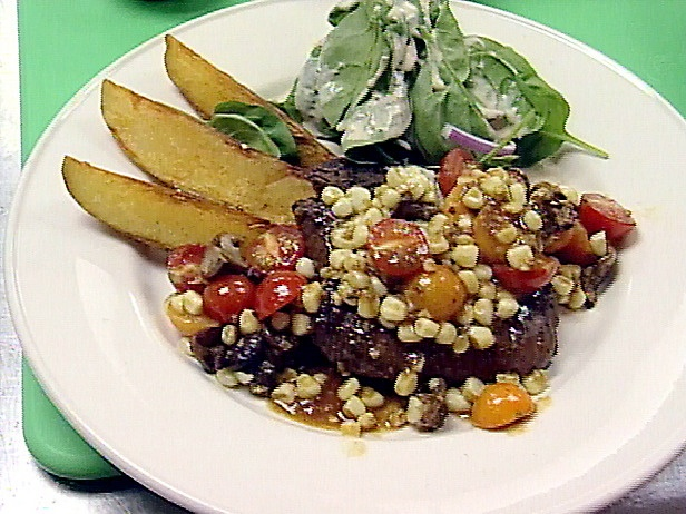 Grilled Sirloin Steak with Summer Vegetable Ragout and Steak Fries ...