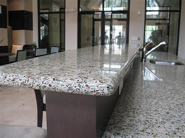 Eco Countertop Edges : recycled glass countertop...not sure how I feel about the rounded ...