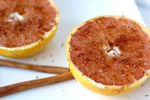 broiled grapefruit with cinnamon sugar UPDATE: A little less cinnamon ...
