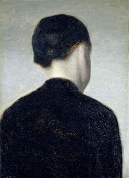 Vilhelm Hammershoi, A Girl from Behind, Half Length, circa 1884