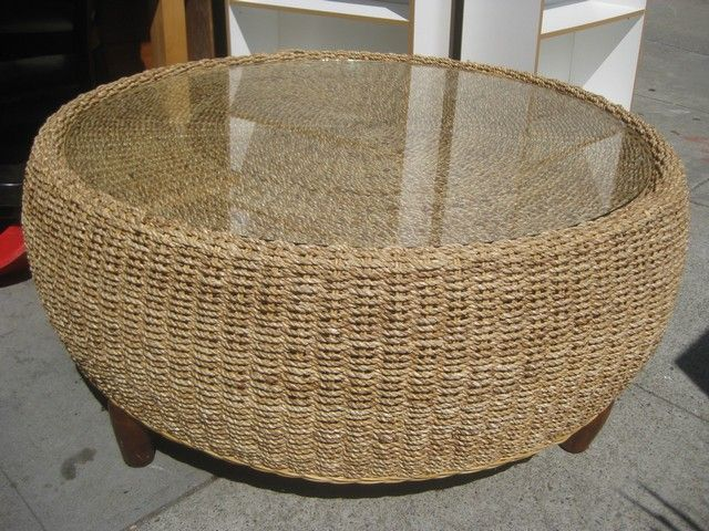Round Wicker Ottoman Coffee Table Dana 39 S Living Room Pinterest
