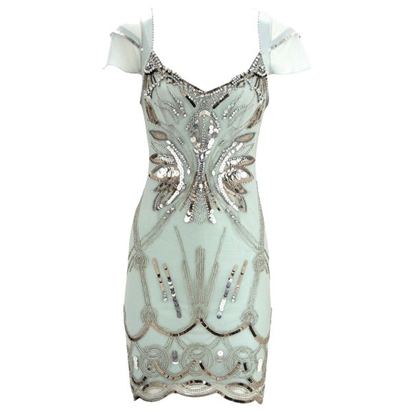 Mint Sequined Cocktail Dress