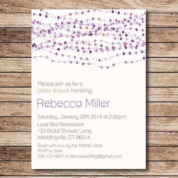 Purple and Orange Beads - Bridal Shower Invitation - Jewelry Theme