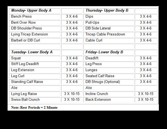 Workout Routine Upper Lower