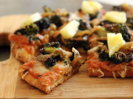 ... Pizza with Roasted Red Pepper Sauce, Broccoli, Caramelized Onions, and
