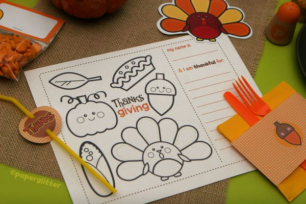"Printable Thanksgiving kit  that includes:  invitations (for any fall or thanksgiving event), envelope, menu, folded cards (2 pages), basket, labels, collage sheet, circle tags, ""to do"" lists, activity sheet for the kids (perfect for the kid's table on thanksgiving), napkin rings / water bottle wraps, mini icon banner, and mini ""thanks giving"" banner"