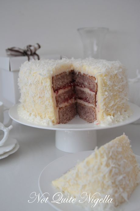 Raspberry & Coconut Layer Cake - my grandfather loves coconut! :)