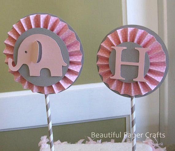 pink and gray elephant rosette centerpiece elephant 1st birthday girl