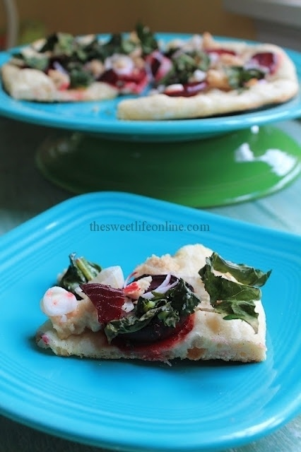 "Roasted Beet and Cashew ""goat cheese"" Pizza (I would use goat chees..."