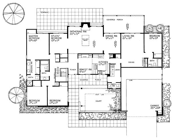 Contemporary ranch retro traditional house plan 95154 Modern ranch floor plans