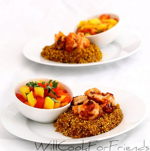 Hot Curried Shrimp with mango red pepper salsa - guilt free and flavor ...