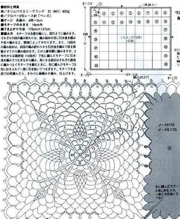 Вязание крючком схема вязания квадратной скатерти 237